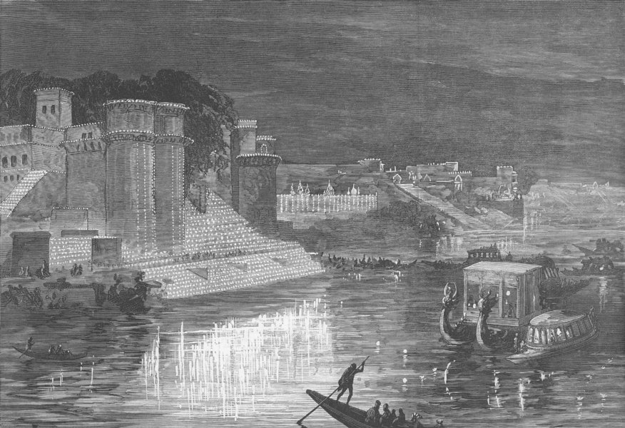 Associate Product INDIA. lights at Varanasi for Prince of Wales, antique print, 1876