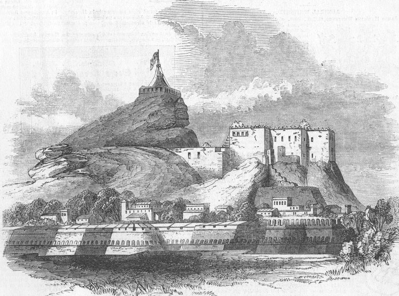 INDIA. Ft & Rock of Thiruchchirapalli, disaster, antique print, 1849