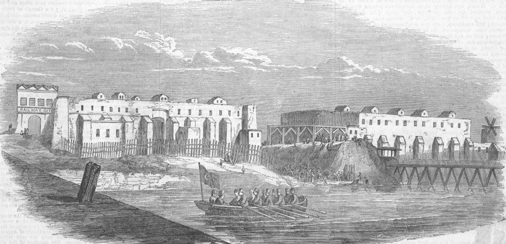 Associate Product EGYPT. Railway Works, Harbour of Alexandria, antique print, 1852