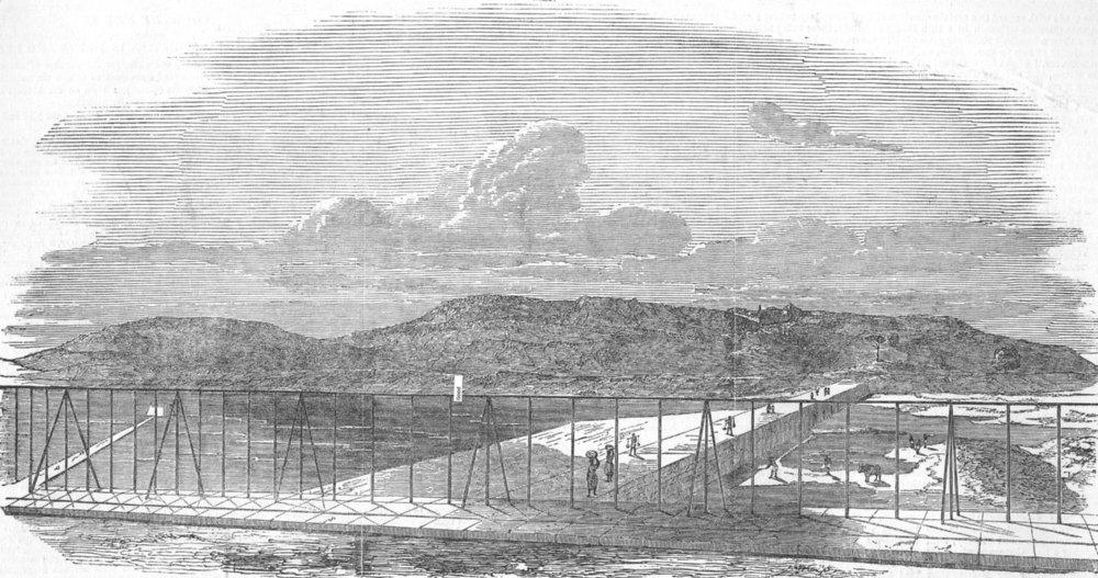 Associate Product INDIA. The Jamsetjee Bund, Pune(The sluices open), antique print, 1851