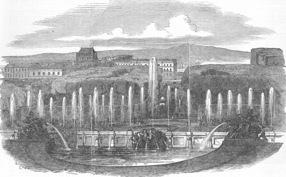 Associate Product FRANCE. Fountains at Versailles, antique print, 1851