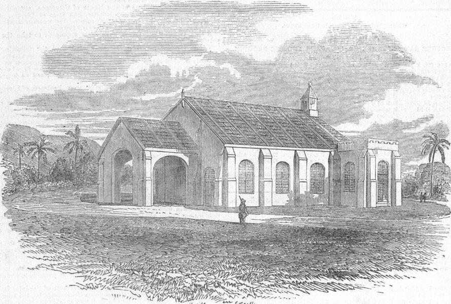 Associate Product INDIA. Church Lately built at Vizianagram, Chennai, antique print, 1851