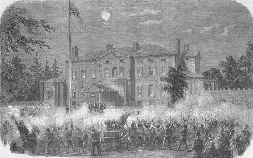 Associate Product CANADA. Firemen demo, Fredericton, New Brunswick, antique print, 1858