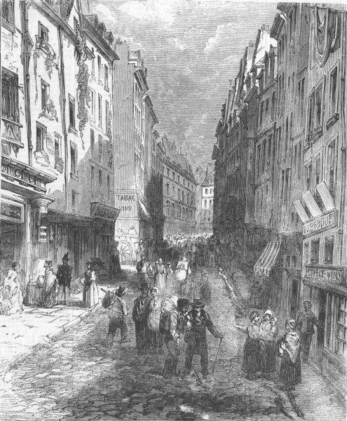 Associate Product FRANCE. Paris Demolition-Rue Montagne Ste Genevieve, antique print, 1858