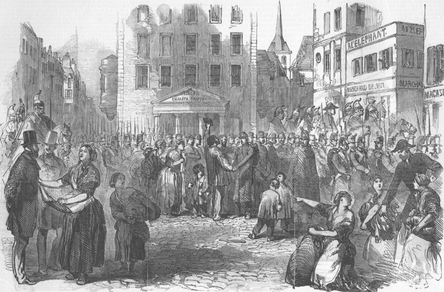 Associate Product FRANCE. Departure of Prisoners from Abbaye, Paris, antique print, 1850