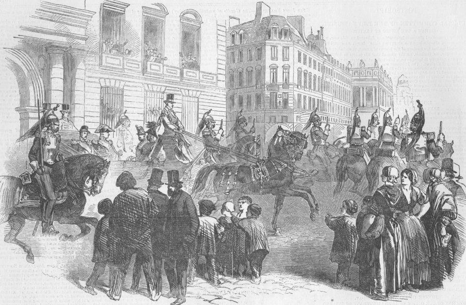 Associate Product FRANCE. Louis Napoleon visiting Garrison of Paris, antique print, 1850