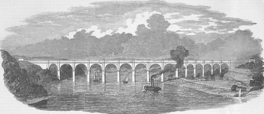 Associate Product NEW YORK. The Croton Aqueduct-Harlem River Bridge, antique print, 1850