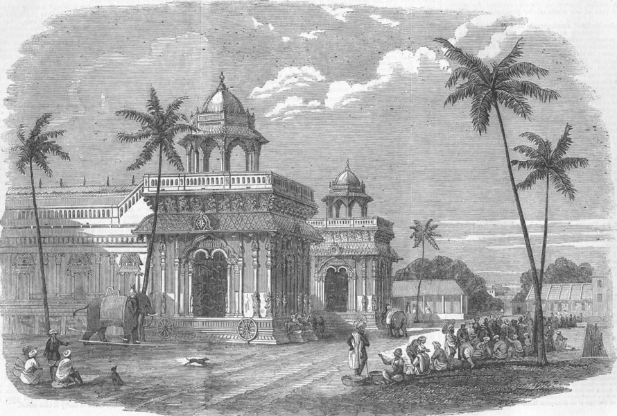 Details about INDIA  Indian Mutiny  Palace of Thanjavur, antique print, 1858