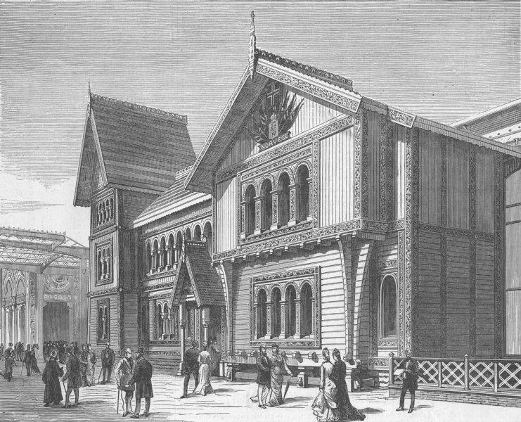 Associate Product FRANCE. Paris Expo. Norwegian Pavilion, Champ de Mars, antique print, 1878