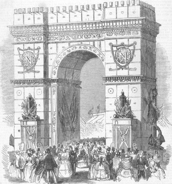 Associate Product FRANCE. Cherbourg-Octeville Fetes-Triumphal Arch, antique print, 1858