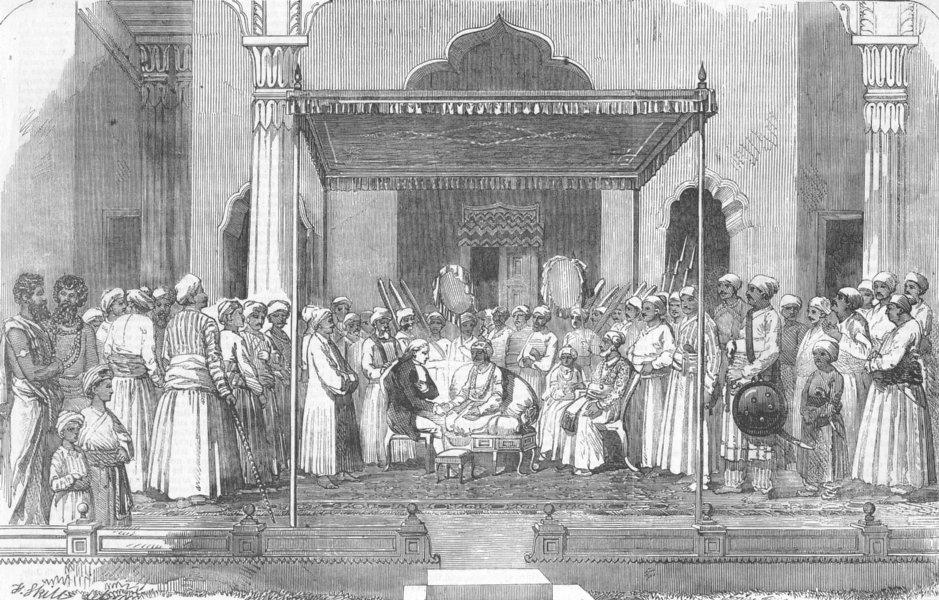 Associate Product INDIA. Nawabs Durbar, Receiving English, Murshidabad, antique print, 1857