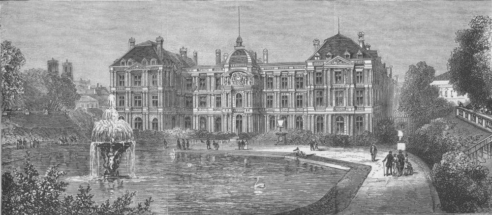Associate Product FRANCE. Paris Commune. Palace of Luxembourg, Paris, antique print, 1871