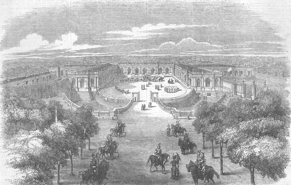 Associate Product FRANCE. The Grand Trianon, at Versailles, antique print, 1855
