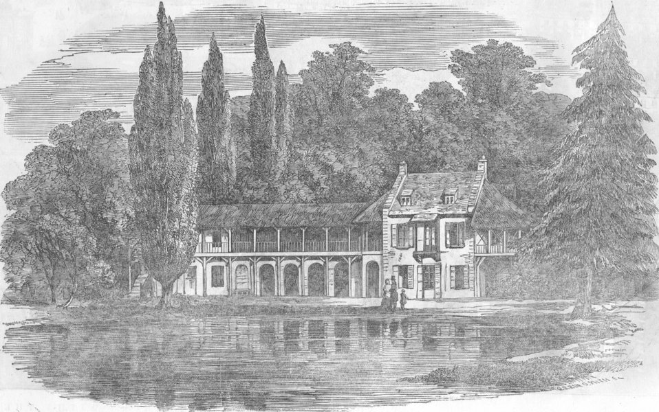 Associate Product FRANCE. The Chalet at Versailles, antique print, 1855