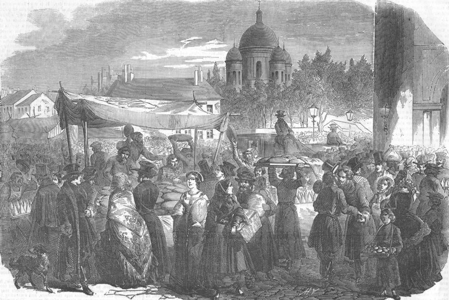 Associate Product RUSSIA. Easter, St Petersburg-Presentation of Egg, antique print, 1854