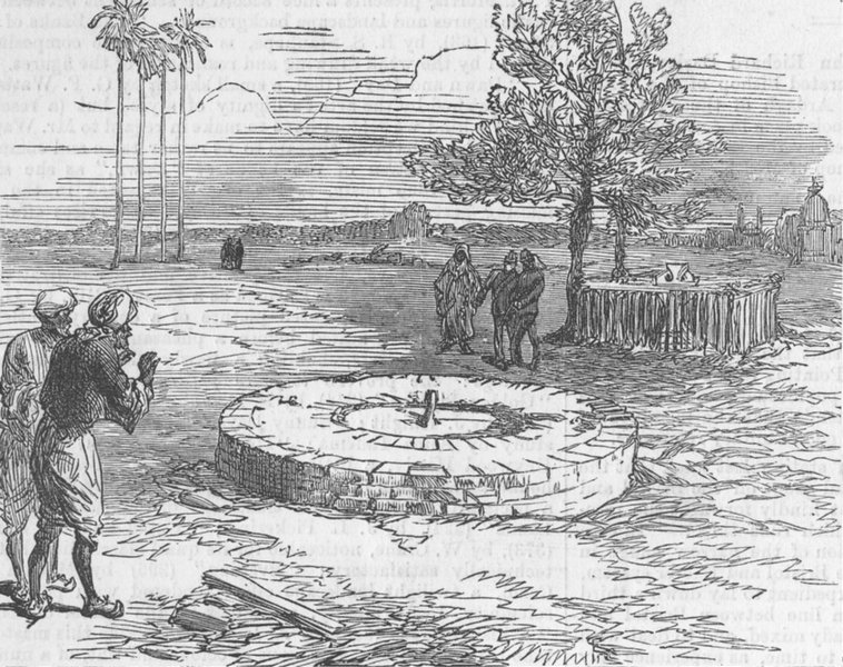Associate Product INDIA. The Well at Kanpur at it was in 1860, antique print, 1874