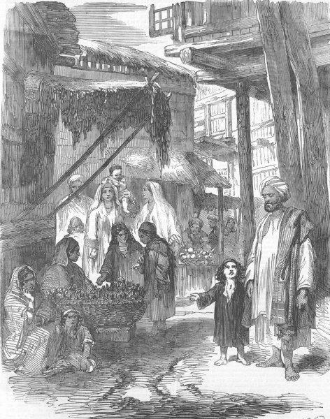 Associate Product INDIA. Vegetable Bazar in Srinagar, Kashmir, antique print, 1857