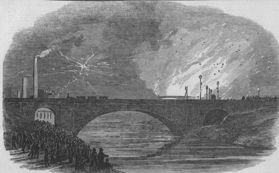 Associate Product GLOS:Great Fire at Bristol, antique print, 1850