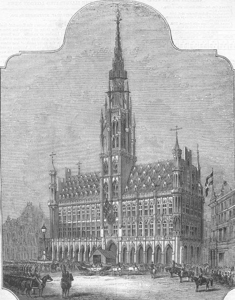 Associate Product BELGIUM. Hotel de Ville, Brussels, antique print, 1843