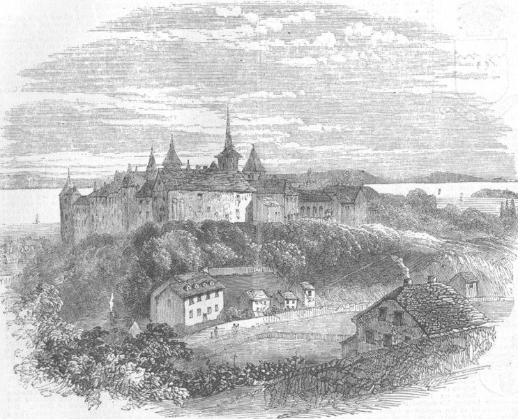 Associate Product SWITZERLAND. The Castle of Neuchâtel, antique print, 1857