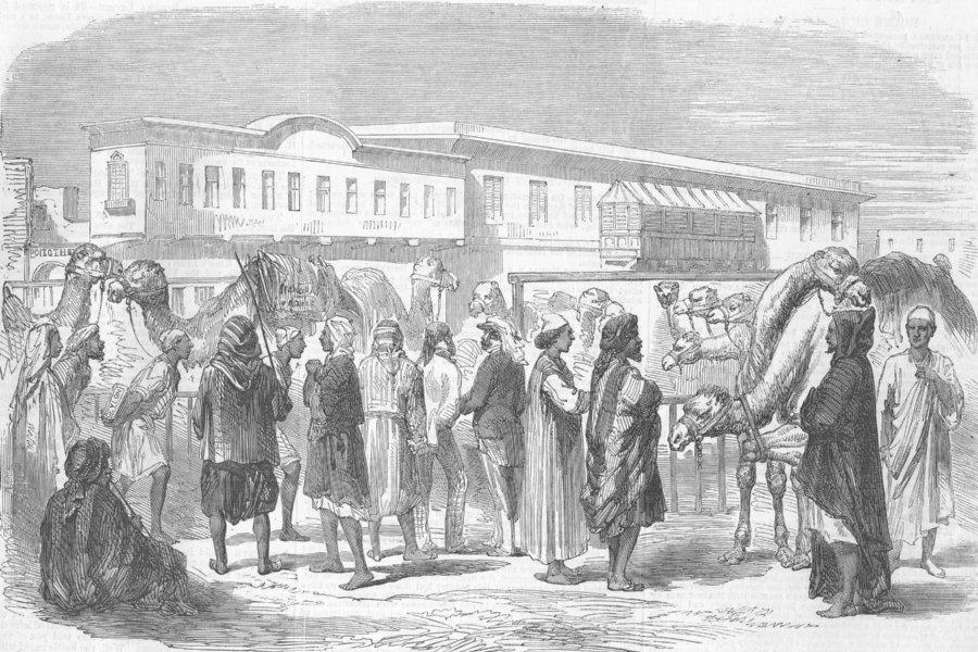 Associate Product EGYPT. Unloading goods, at the Wharf, Suez, antique print, 1857