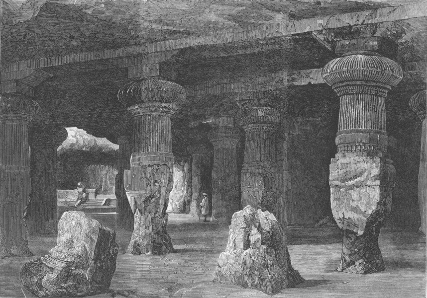 Associate Product INDIA. Elephanta Caves, Bay of Mumbai, antique print, 1863
