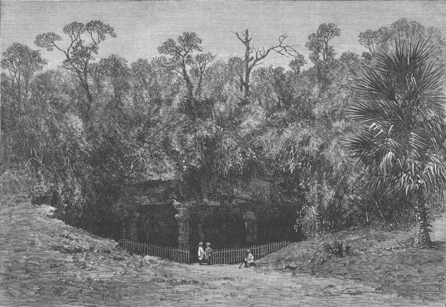 Associate Product INDIA. Elephanta Caves Entrance, Bay of Mumbai, antique print, 1863
