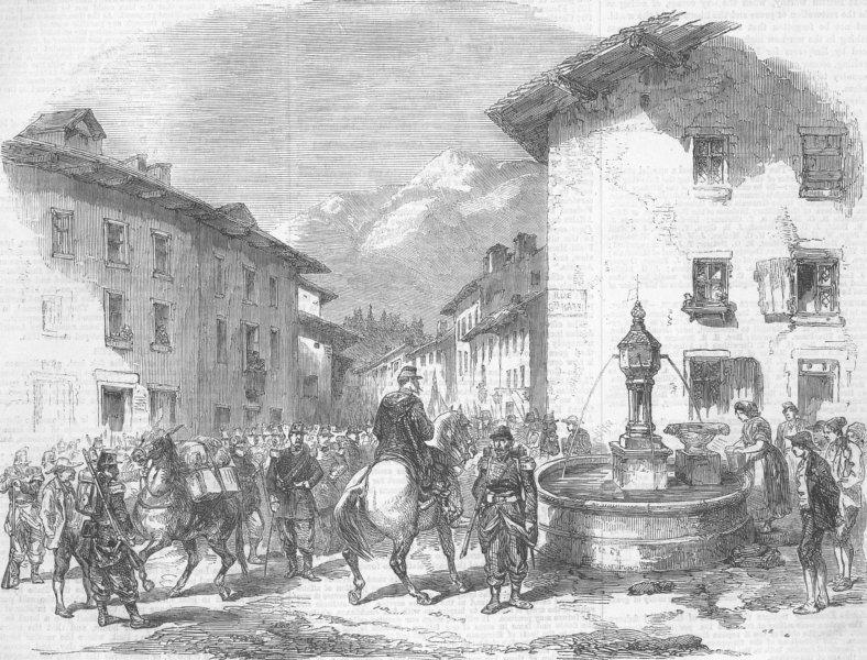 Associate Product FRANCE. Troops arriving at Modane, Savoie, antique print, 1859