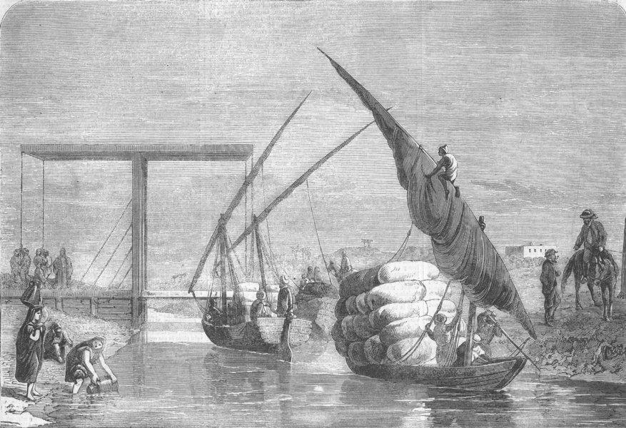 Associate Product EGYPT. Drawbridge, Sweet-Water Canal, Tel-El-Kibeer, antique print, 1863