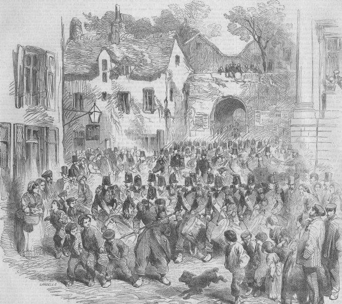 Associate Product FRANCE. Troops at Porte Des Dunes, Boulogne, antique print, 1854