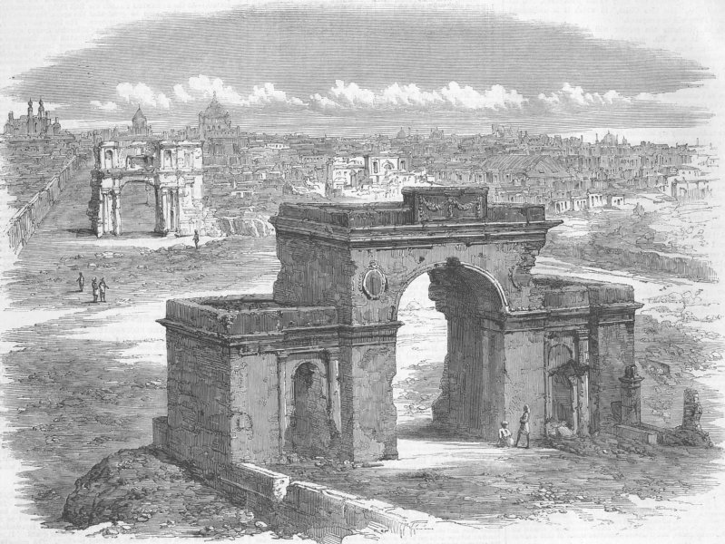 Associate Product INDIA. The Bailey Guard Gate, antique print, 1859