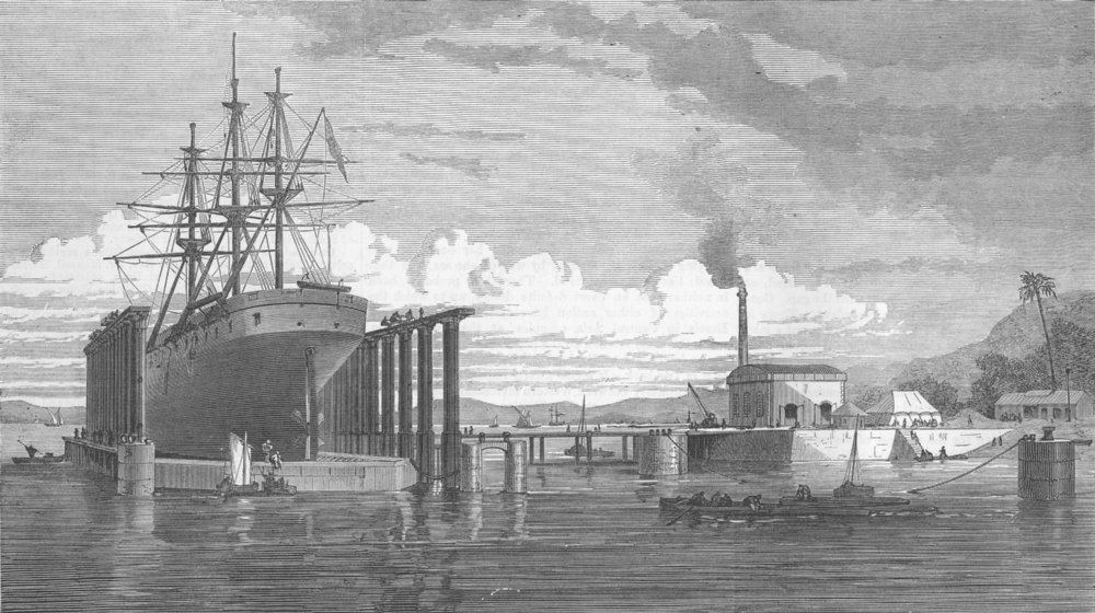 Associate Product INDIA. Hydraulic Lift Graving Dock, Mumbai Harbour, antique print, 1872