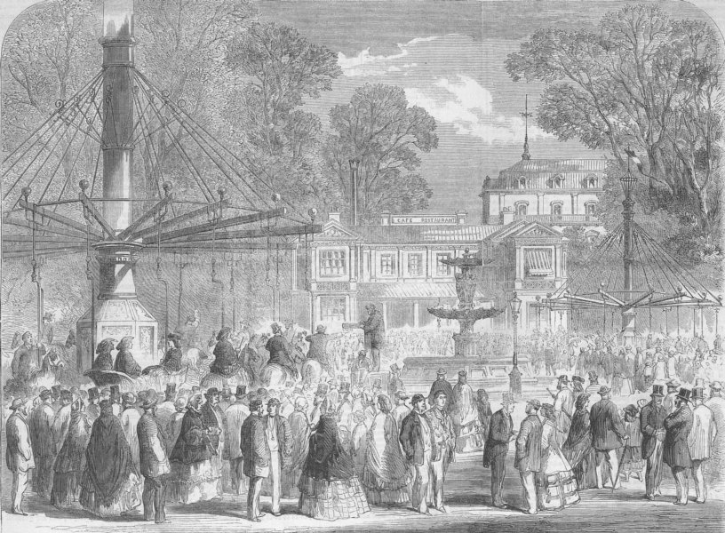 Associate Product FRANCE. British tourists, Champs Elysees, antique print, 1861