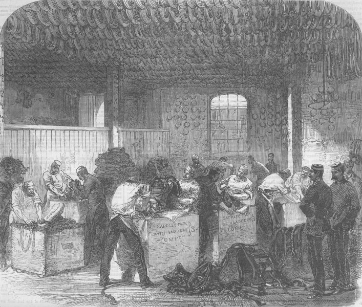 Associate Product LONDON. Packing Saddlery in Woolwich Dockyard, antique print, 1867
