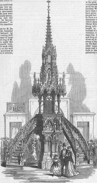 Associate Product FRANCE. Carved Oak Pulpit in the Rue de Belgique, antique print, 1867