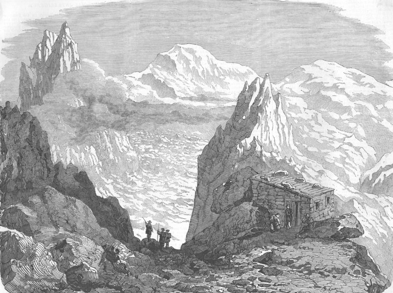 Associate Product FRANCE. The Cabin on the Grands Mulets, Mont Blanc, antique print, 1853