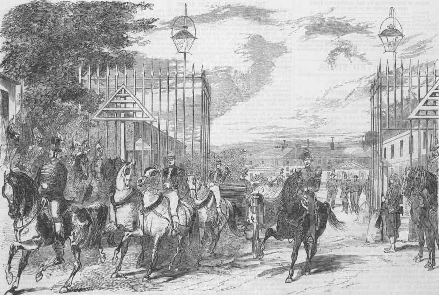 Associate Product FRANCE. Queen leaving Château de Saint-Cloud, antique print, 1855