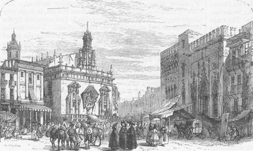 Associate Product SPAIN. market, Valencia-From Chapuy, L'Espagne, antique print, 1872
