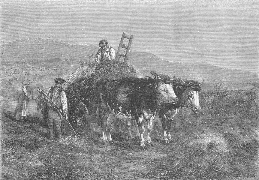 Associate Product SWITZERLAND. Haymaking in Switzerland, antique print, 1857