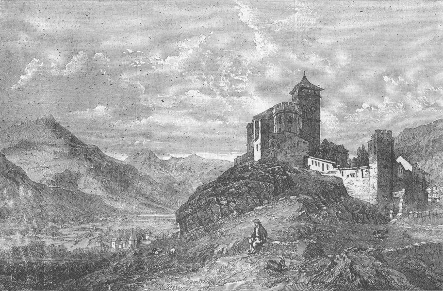 Associate Product SWITZERLAND. St Valerie Castle & Church, Sion, Valais, antique print, 1856