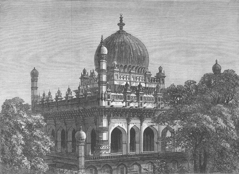 Associate Product INDIA. Tomb of King Ibrahim at Bijapur, India, antique print, 1871