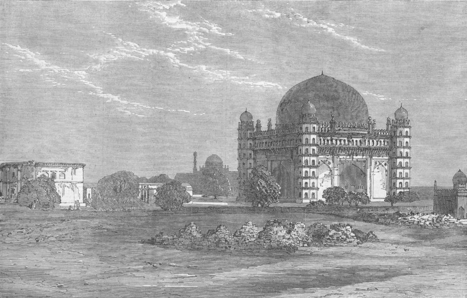 Associate Product INDIA. Tomb of Mohammed Adil Chah, Bijapur, India, antique print, 1871