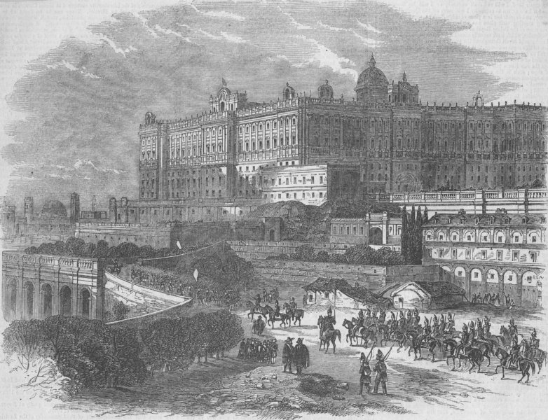 Associate Product SPAIN. The Royal Palace at Madrid, antique print, 1856
