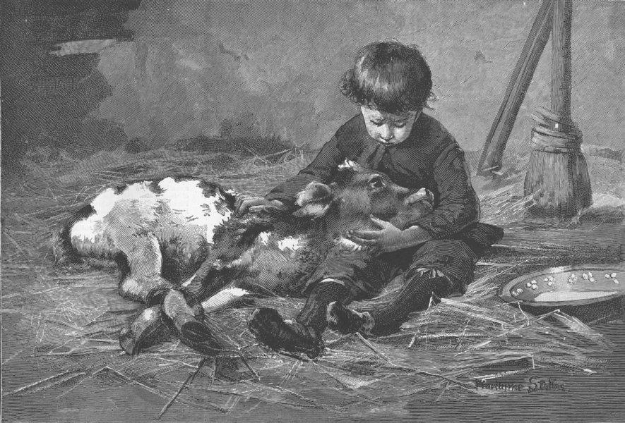 Associate Product CHILDREN. A Parting, antique print, 1855