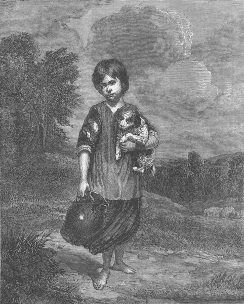 Associate Product CHILDREN. A girl with a pitcher, antique print, 1862