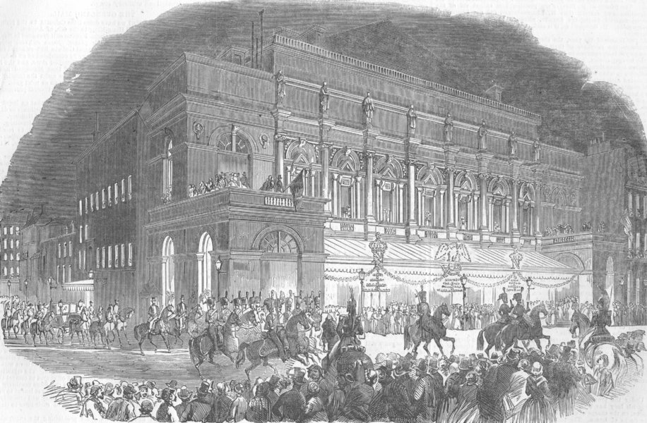 Associate Product FRANCE. Opera, Paris. Emperor of French leaving , antique print, 1853