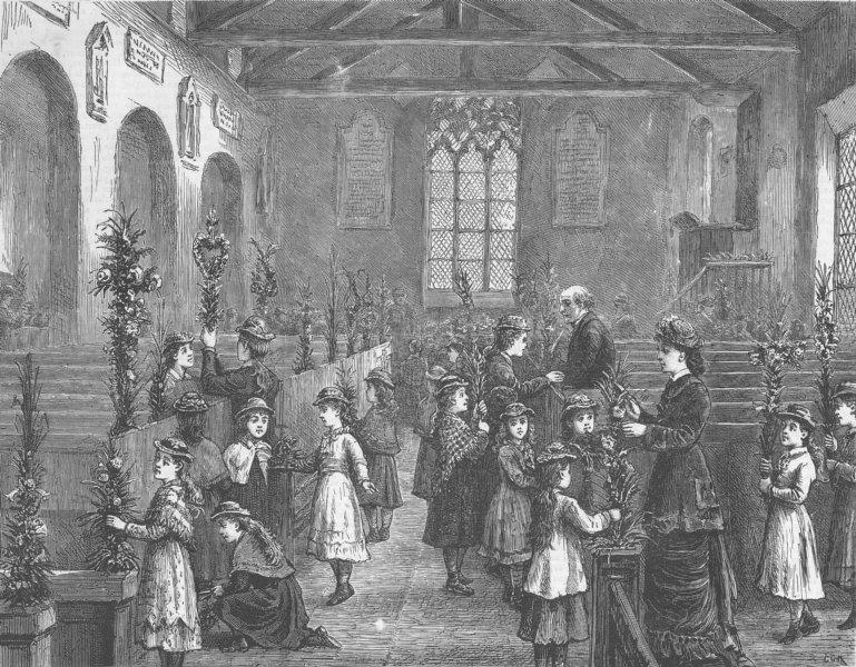 Associate Product WESTMORELAND. Grasmere, Decorating Church, antique print, 1879