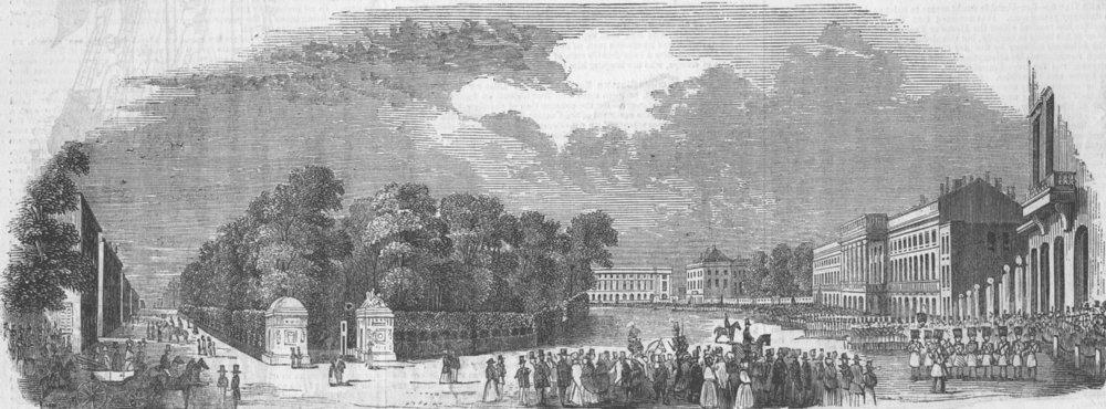 Associate Product SWITZERLAND. Rue Royale, Brussels, antique print, 1843