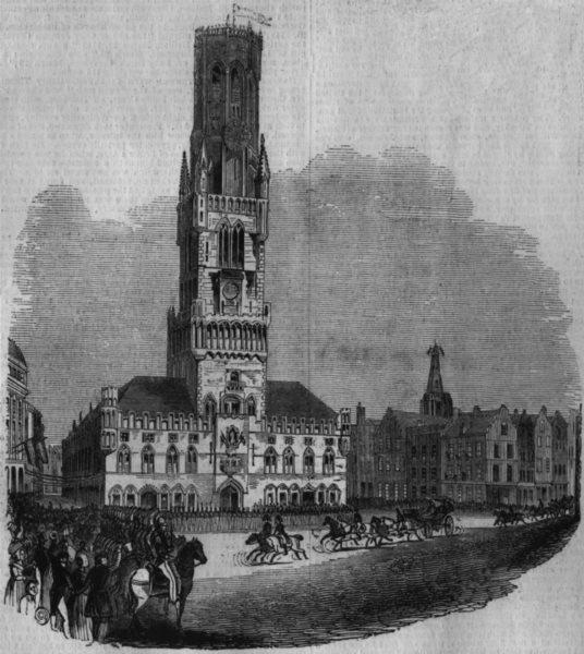 Associate Product BELGIUM. The Beffroi Brugge, antique print, 1843