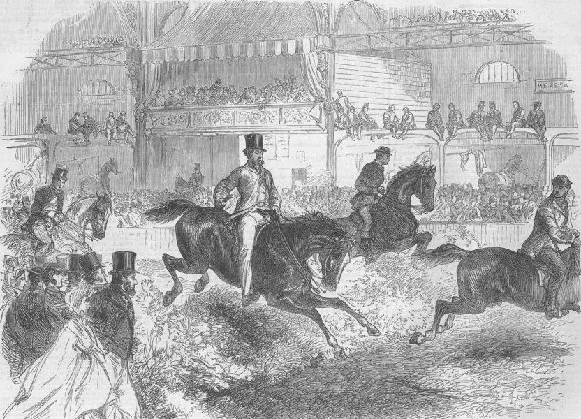 Associate Product LONDON. Horse Show, Islington. Trying hunters, antique print, 1864